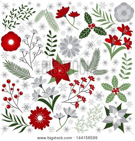 Vector Christmas flowers, leaves, branches and snowflakes