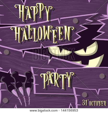 Halloween banner: monster with scary face broken wooden wall from boards and looks out of the darkness. Vector illustration in cartoon style. Concept design poster flyer or ticket on holiday party.