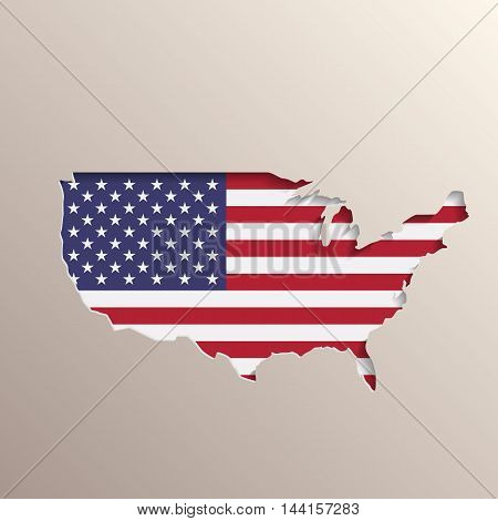 3D like picture of USA territory with United States flag on background