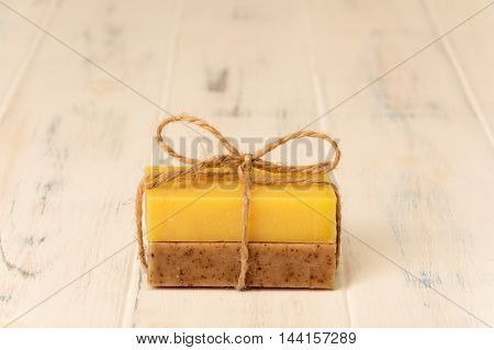 Soap brown and yellow color on a white background
