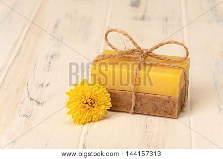 Soap brown and yellow and one yellow chrysanthemum