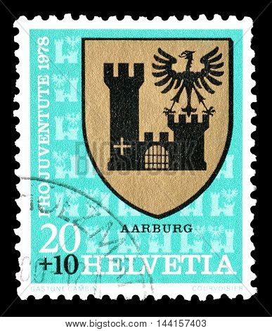 SWITZERLAND - CIRCA 1978 : Cancelled postage stamp printed by Switzerland, that shows coat of arms of Aarburg.