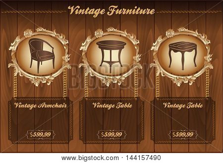 Vector wooden background with vintage furniture and text space
