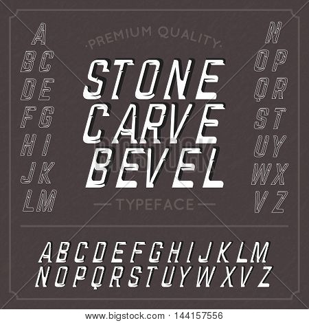 Hand crafted font Stone Carve Bevel. Handcrafted font.