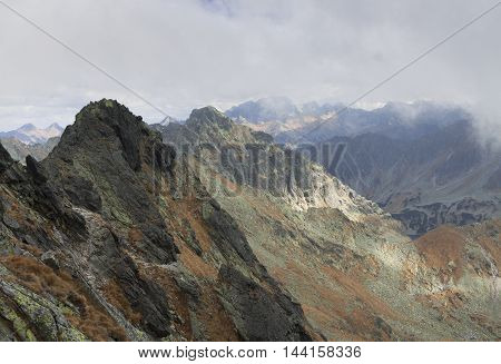 Poland Tatra Mountains Tatry Wysokie Zawrat peak foreground Kozi Wierch peak background seen from Orla Perc (Eagles' Path) route