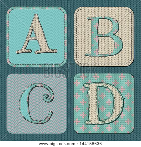 Vector Illustration of Christmas Knitted Letters A B C D Font. Northern Sweater Style Background Texture. Typography Knit Letters