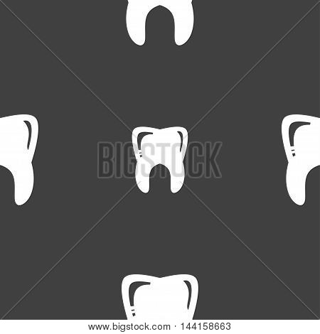 Tooth Sign. Seamless Pattern On A Gray Background. Vector