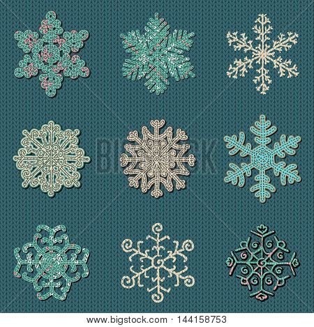 Set of Nine Cute Sewn Knitted Snowflakes on Knitted Background. Christmas Vector Illustration. Woolen Knit Background Texture. Knitting Patterns
