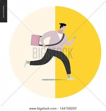Young man running with a bag in a round shape. Flat vector cartoon illustration of a young man hurrying to somewhere, wearing a bag on a long belt.