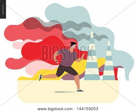 Young man running in smog, gas-polluted air. Flat vector cartoon illustration of a young sportsman running along the urban street, with a lot of smoke and industrial pipes smoking on the background.
