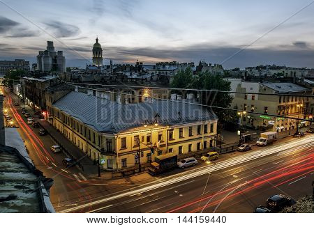 13 may 2016.Saint-Petersburg.The view from the roof of St. Vladimir's Cathedral and the rooftops of the city at evening illumination.Russia