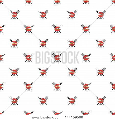 Barbeque Icon Seamless Pattern on White. Summer Grill Background.