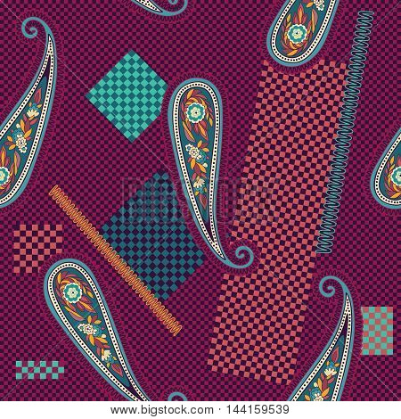 Colorful decorative pattern. Paisley elements on the chess backdrop