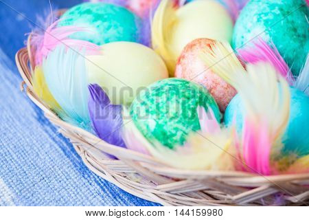 Easter theme background with coloful painted eggs