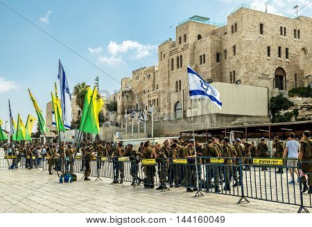 Combat units in the Israeli army were sworn near the wailing wall in Jerusalem Israel 11 september 2014