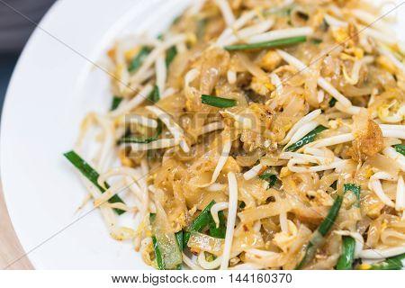 Selective focus of Thai stir fry noodle popular Pad Thai