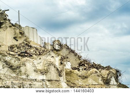 Demolished Or Collapsed Apartment Building Wall With Copy Space