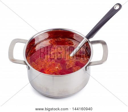 Hot borsch in a steel pan isolated on a white background