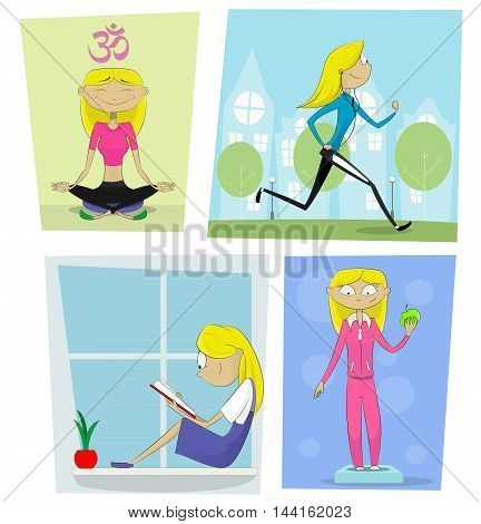 Sports diet and activities concept. Cartoon girl reads book does yoga joggingmeditates weighed on the scales. Healthy lifestyle vector illustration