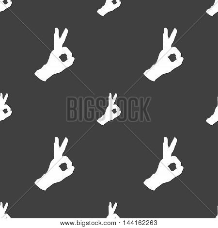 Gesture Ok Sign. Seamless Pattern On A Gray Background. Vector