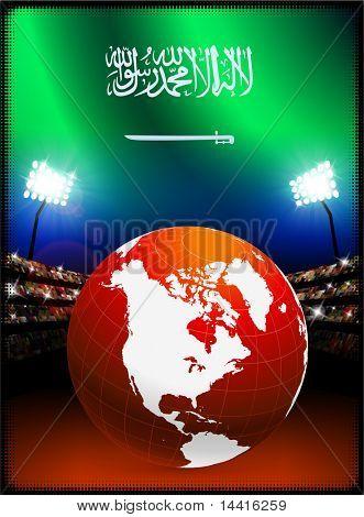 Saudi Arabia Flag with Globe on Stadium Background Original Illustration