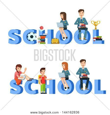 School children group or student with book posing sitting on the letters school isolated in whit. Vector illustration of flat design concept education