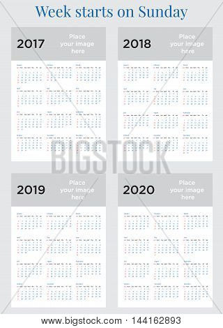 2017 2018 2019 2020 Calendar planner Week starts on Sunday. Scale A4 dimension. Vector illustration