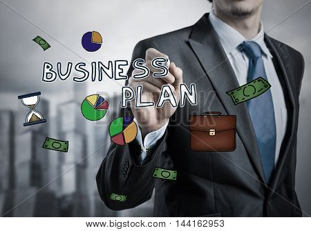 Close up of businessman drawing on screen business concepts