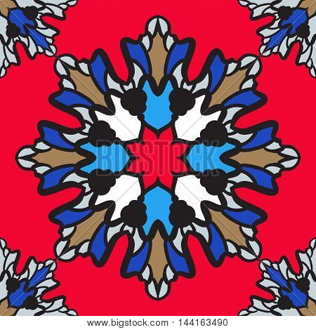 Print in oriental style, vitrage of bright color, seamless design.