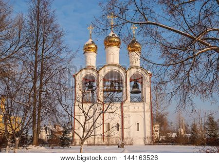 The bell tower of St. Nicholas Monastery in Pereslavl Zalessky in winter sunny day