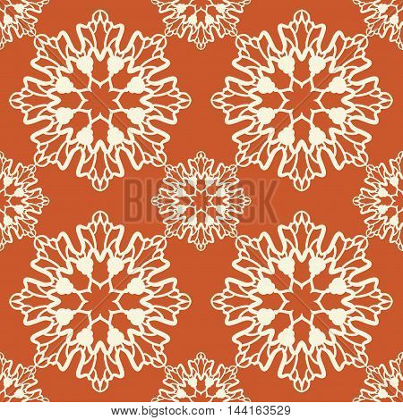 Geometric seamless pattern. Low color design. Endless rosette on orange color. Two color abstract background.