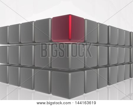 Red and grey cubes as abstract background, 3D illustration.