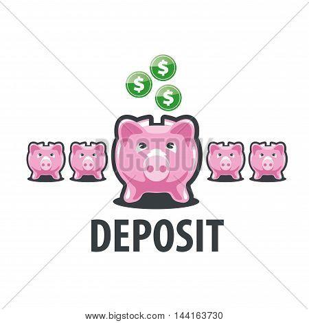 logo design template piggy bank. Vector illustration