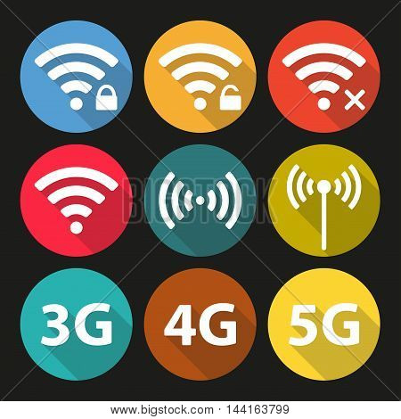 Wifi and wireless icon set for remote internet access. Podcast vector symbols. 3G, 4G and 5G technology signs. Colorful wifi symbols in flat design.