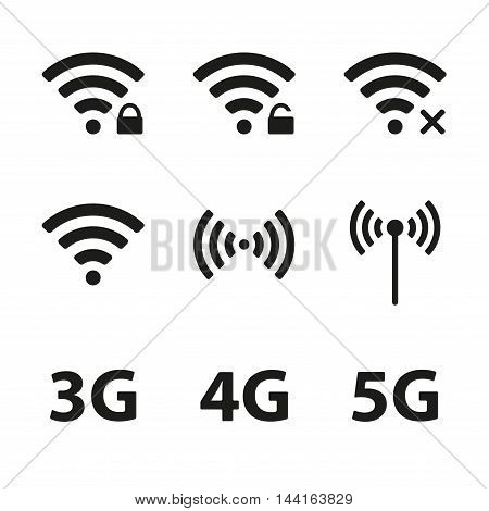 Wifi and wireless icon set for remote internet access isolated on white background. Podcast vector symbols. 3G, 4G and 5G technology signs. Vector illustration.
