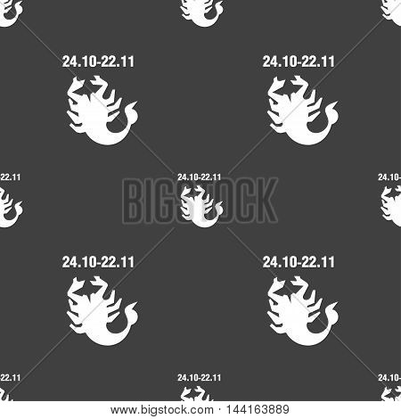 Scorpio Sign. Seamless Pattern On A Gray Background. Vector