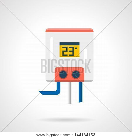 Electric water heater for heated floor system. White tank with 23 degree on display, gray and blue pipes. Underfloor heating appliances and equipment. Single flat color design vector icon.