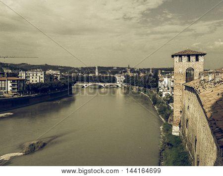 River Adige Panorama In Verona Vintage Desaturated