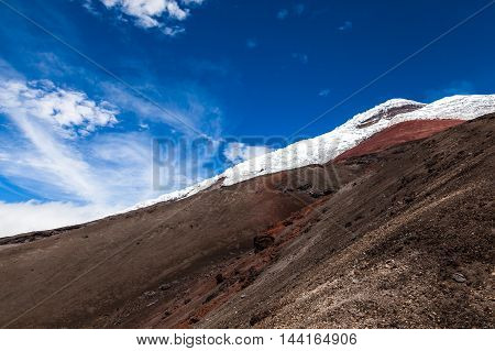View sands and glaciers of Cotopaxi Volcano with blue sky and the rock wall and its Mountain summit