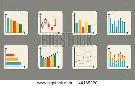 Graphs and charts icon set for infographics design. Colorful vector illustration.
