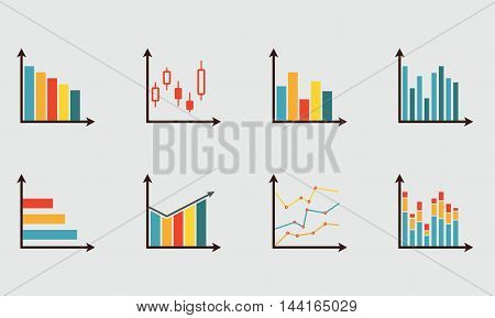 Graphs icon set. Charts for infographics design. Colorful vector illustration in flat style.