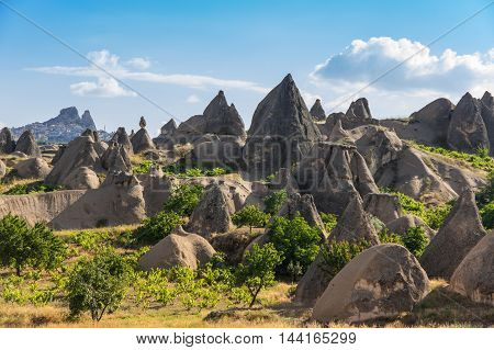 Stone formations in Goreme national park Cappadocia Turkey