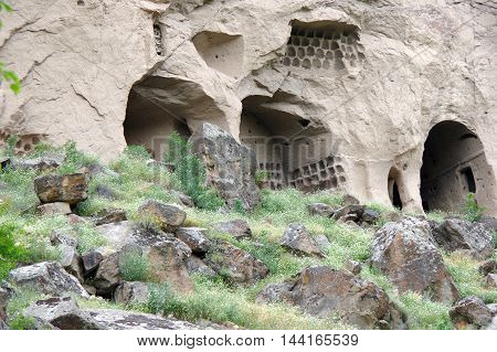 Caves built by the Cappadocian Greeks in Ihlara valley Turkey