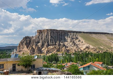 Panorama of Yaprakhisar village in Cappadocia Central AnatoliaTurkey