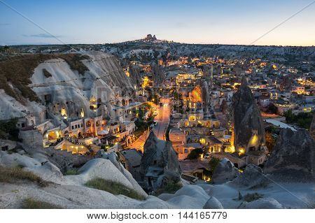 Goreme town on sunset in Cappadocia Central AnatoliaTurkey