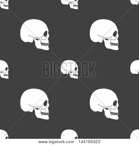 Skull Sign. Seamless Pattern On A Gray Background. Vector