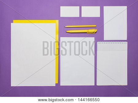 Mock-up business template with cards, papers, pen on lilac background.