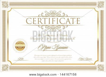 Certificate Or Diploma Retro Vintage Design Template 5.eps
