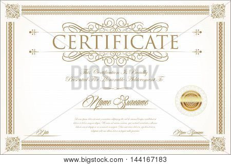 Certificate Or Diploma Retro Vintage Design Template 4.eps
