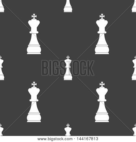 Chess King Sign. Seamless Pattern On A Gray Background. Vector